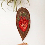Anatomical heart embroidered on a leaf