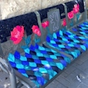 Embroidered street benches add color to neighborhood