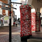 Town centre decorated with thousands of knitted poppies
