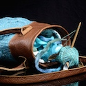 spinning project bag, leather and knitted fabric