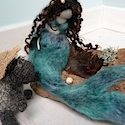 Needlefelted wool and silk mermaids
