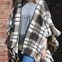 Plaid Crochet  Blanket Crochet Poncho