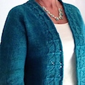 Hand spun, knit and dyed cardy